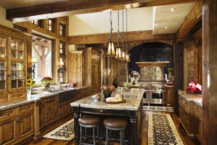 Rustic-Hickory-Kitchen-Cabinets