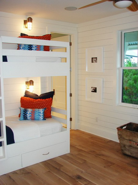 White Bunk Beds Sets with Stairs in Contemporary Kids Bedroom Design Ideas