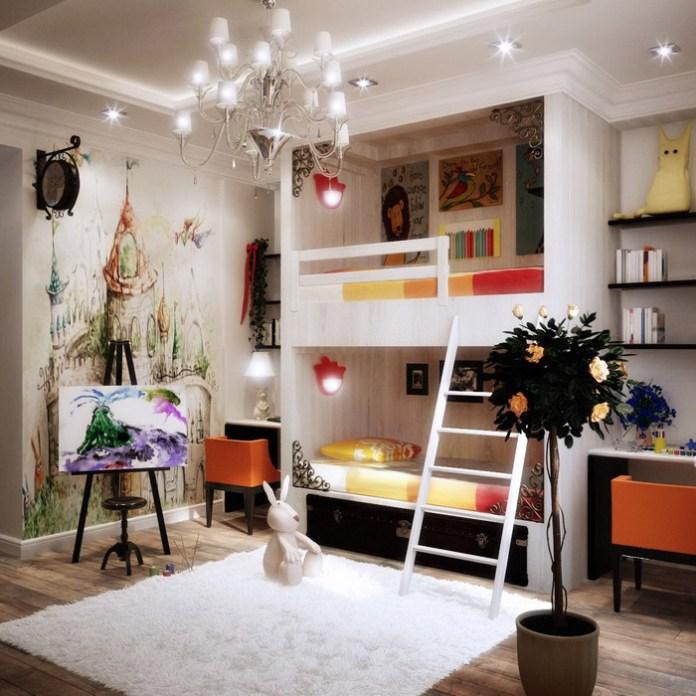White Bunk Beds in Modern Kids Bedroom