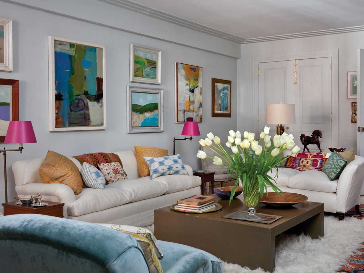 White Eclectic Living Room With Colorful Accent Pillows