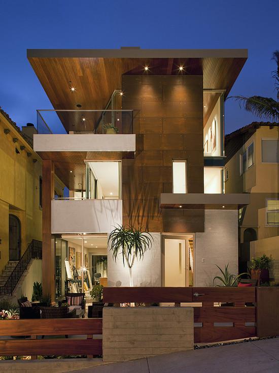 modern-exterior-wooden-facade-brown-color-in-luxury-home