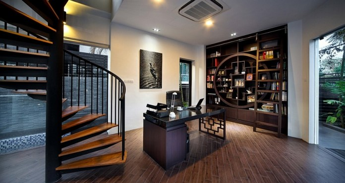 Creative-home-office-combines-modern-aesthetics-with-Asian-style