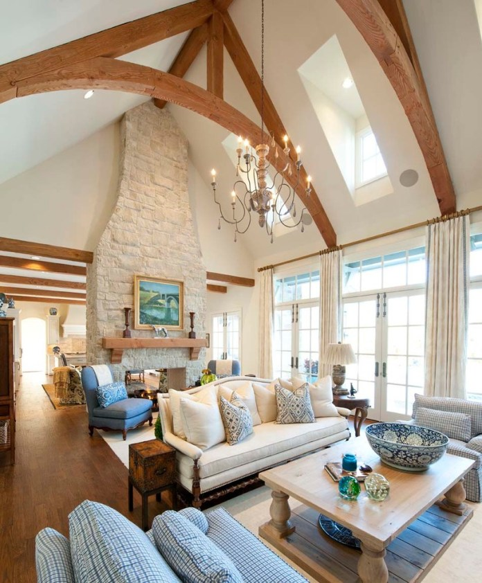 Farmhouse Living Rooms How To Paint A Stone Fireplace