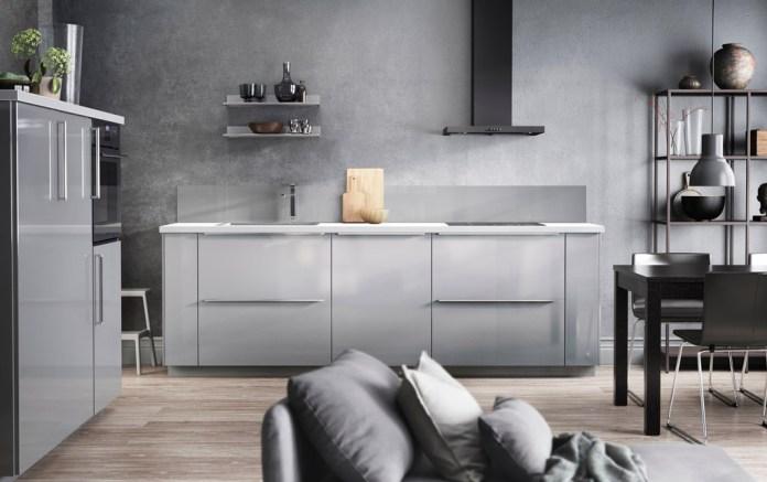 Grey kitchen design with grey walls