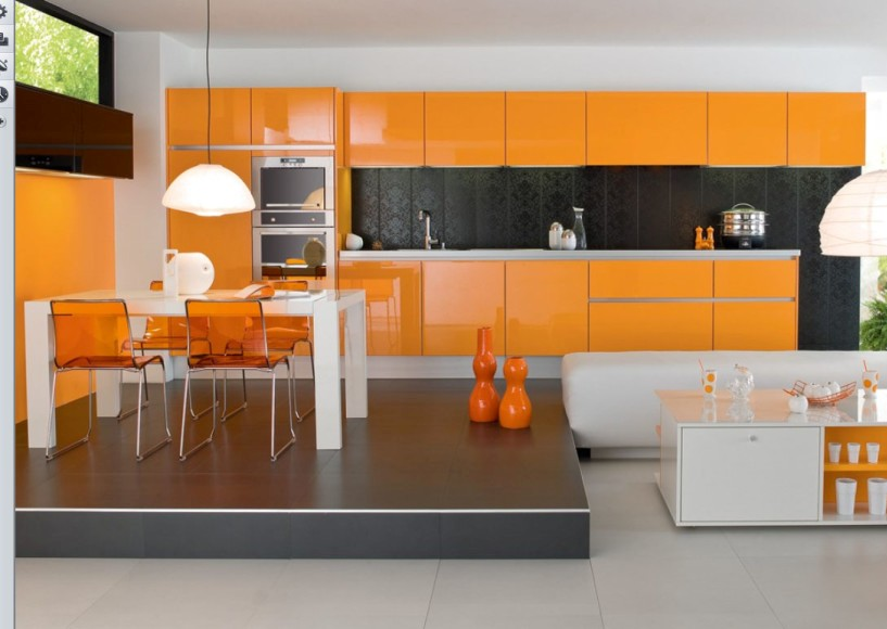 Modern-Small-Kitchen-Design-with-Orange-Cabinetry