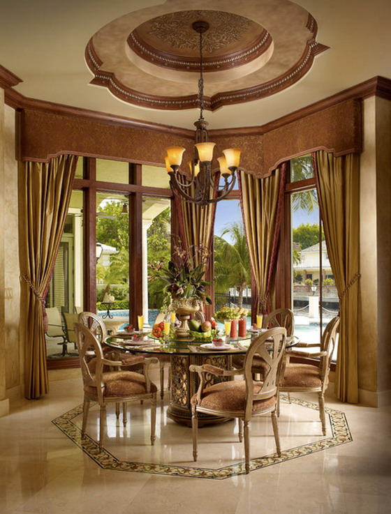 Round-Glass-Table-in-Mediterranean-Dining-Room