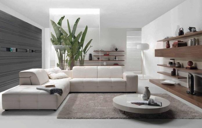 All White Contemporary Living Room