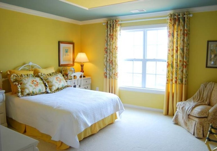Chic Bedroom With Yellow Paint