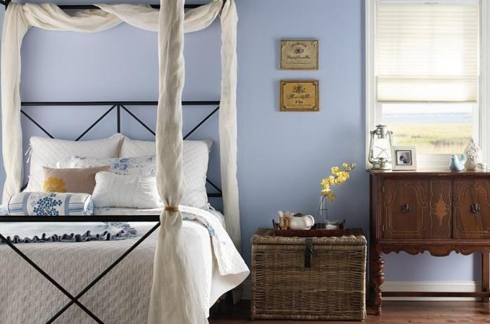 Country Bedroom Design With Light Blue Paint Color