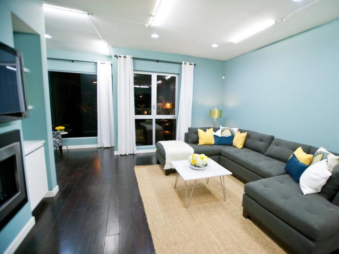 Modern Living Room With Blue Walls & Wood Floor