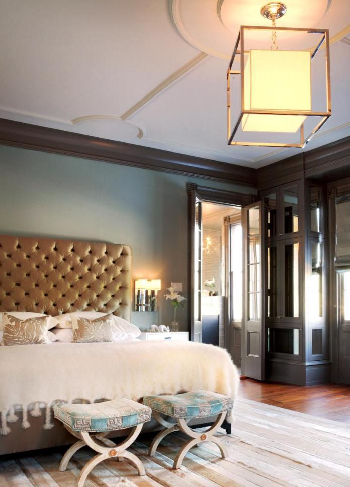 Contemporary Bedroom With Silk Tufted Headboard