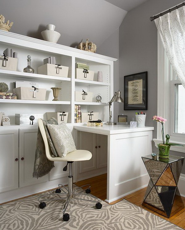 All white small home office