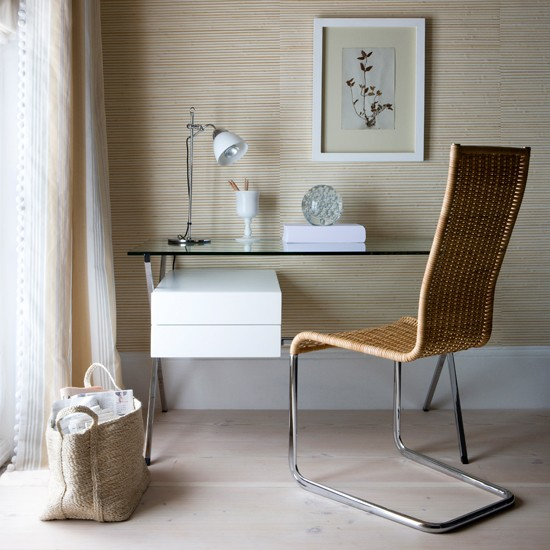 Blonde wood Flooring Home Office