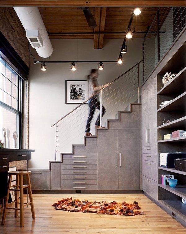 Creative under stairs storage idea