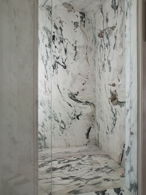 Framless Walk-in Shower With Marble Walls