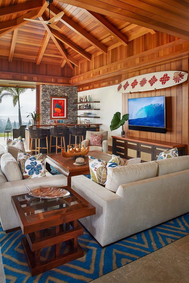 Tropical Family Room Design