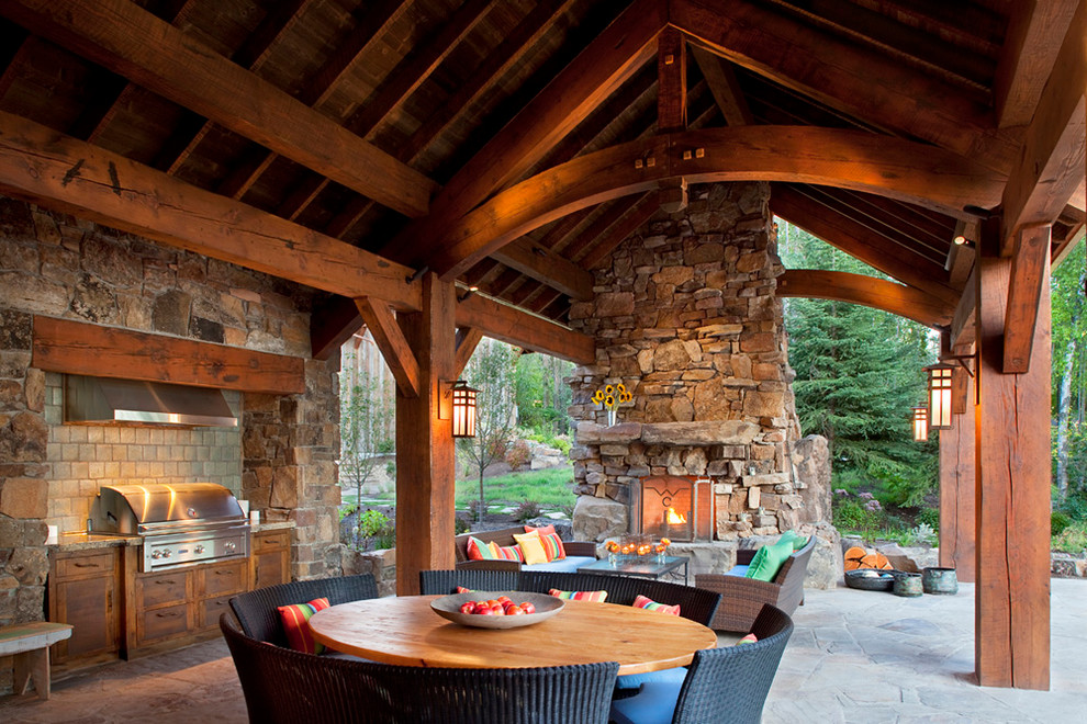 Rustic Porch Design With Stylish Kitchen