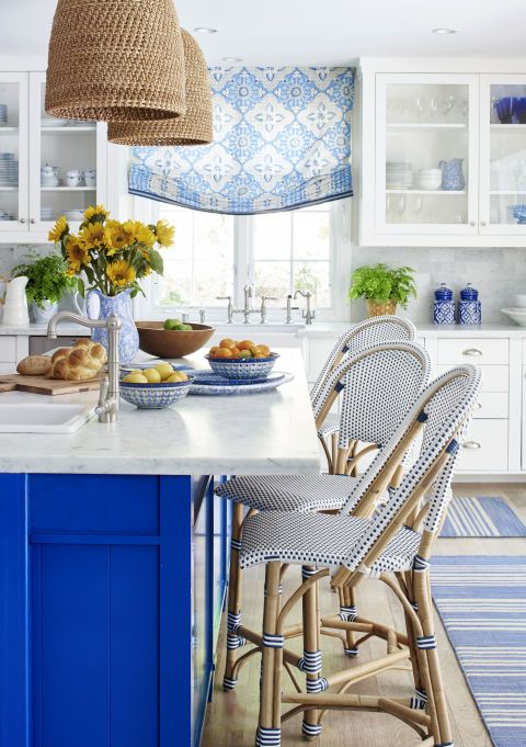 All White Kitchen With Electric Blue Combination