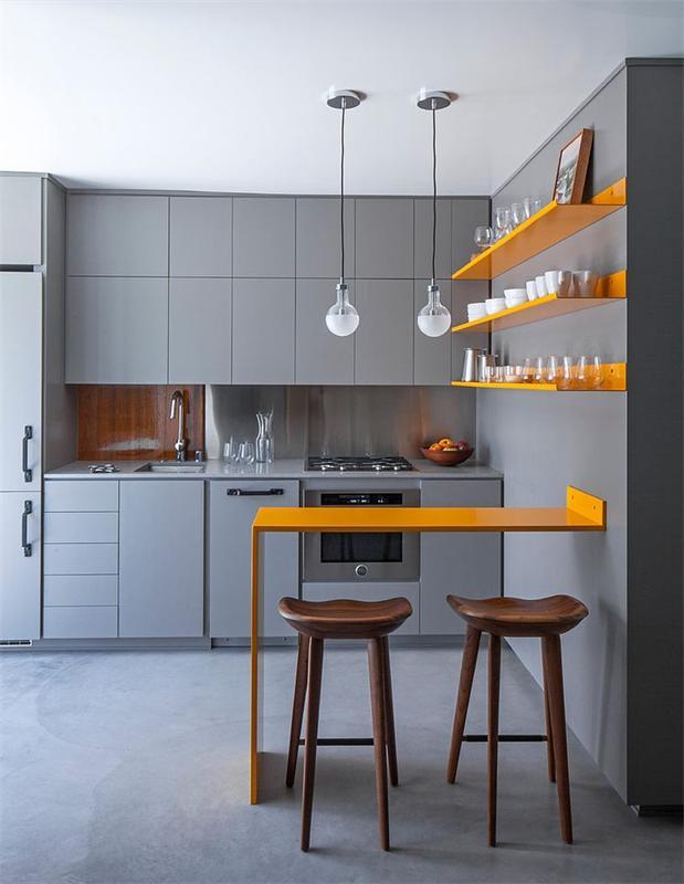 Compact Gray Color miniature kitchen Dwellingdecor