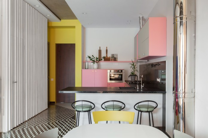 Eclectic U-shaped Multicolored Floor Open Concept Kitchen
