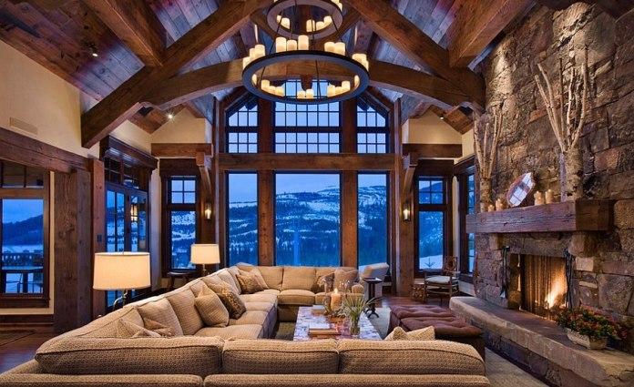 Large Rustic Style Living Room Dwellingdecor