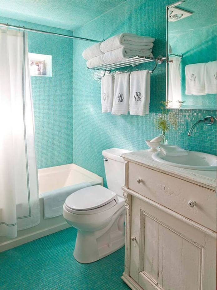 Shabby Chic Bathroom Covered with Turquoise Tiles