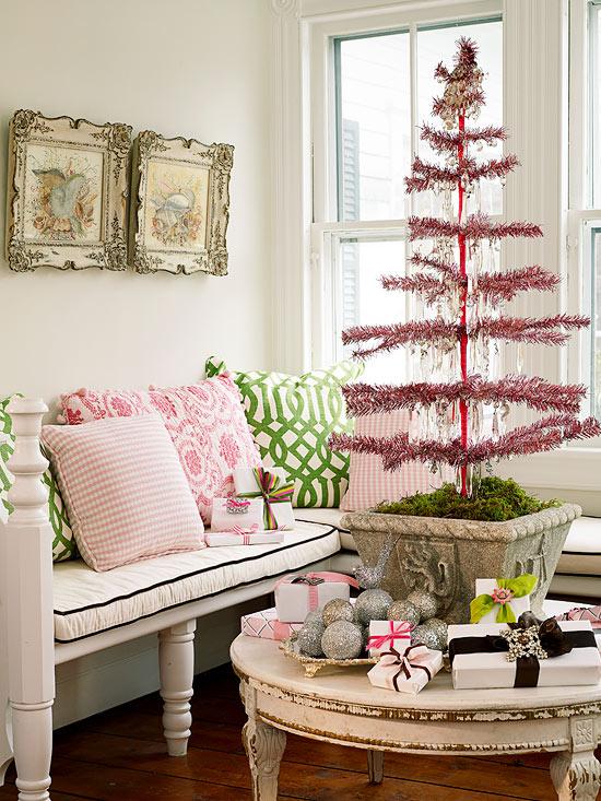 Pink-and-Green Christmas Tree dwellingdecor