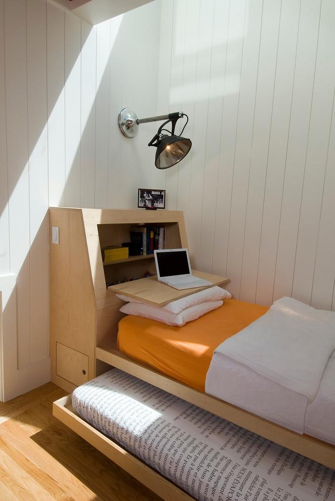 Scandinavian Guest Bedroom With Space Saving Wooden Bed