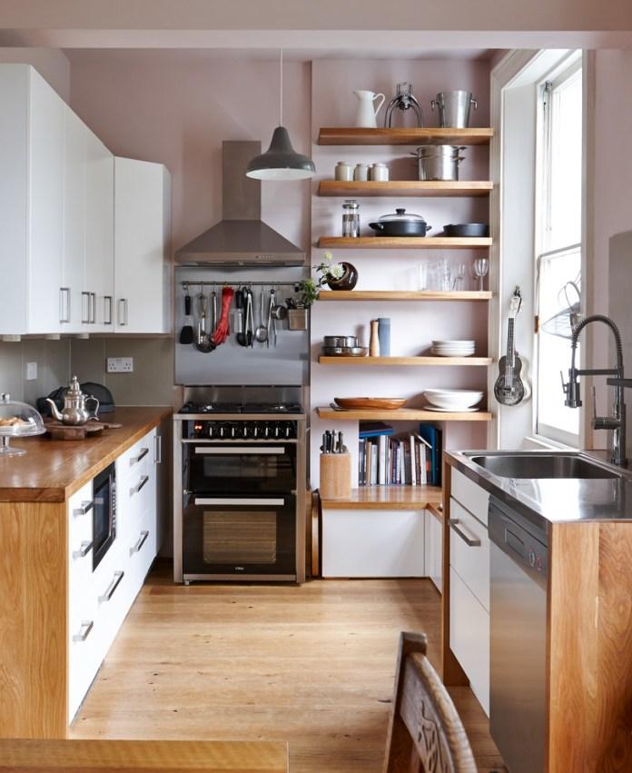 Small Contemporary Medium Tone Wood Floor Kitchen
