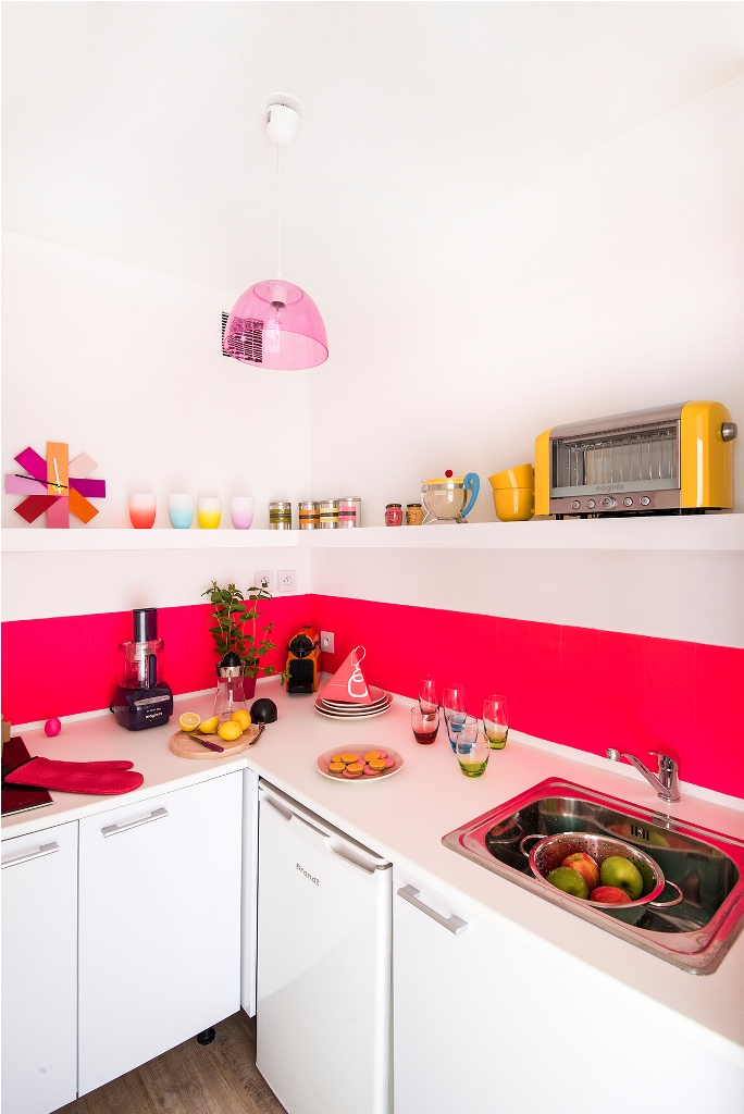 Small Kitchen With Bright Feminine Colors