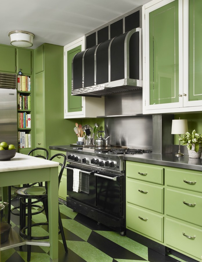 Small Kitchen With Parrot Green Cabinets Dwellingdecor