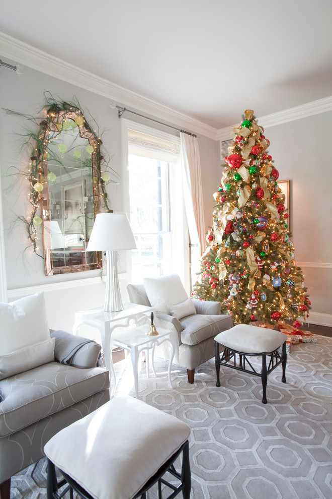 Transitional Living Room Christmas Tree Decoration Dwellingdecor