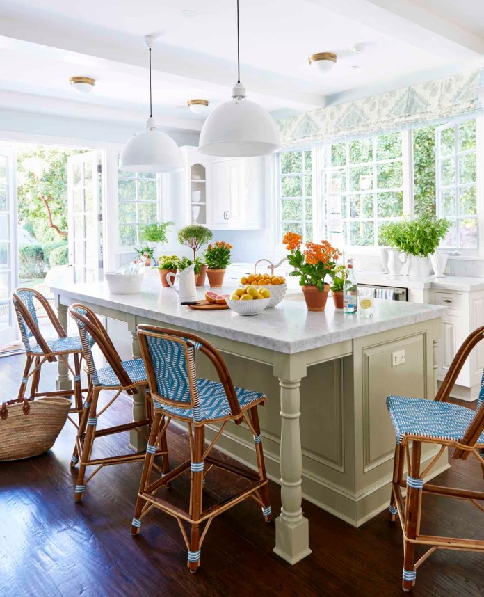 Marble Countertop Island With French Bistro Stools dwellingdecor