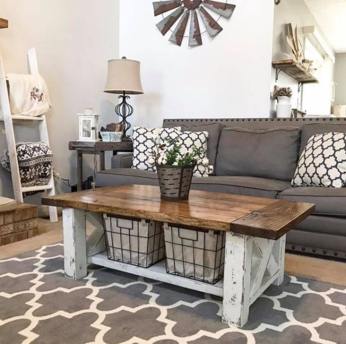 Rustic Living Room With Chunky Farmhouse Coffee Table