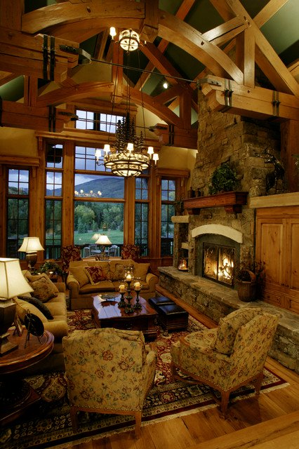 Rustic Living Room With Large Windows