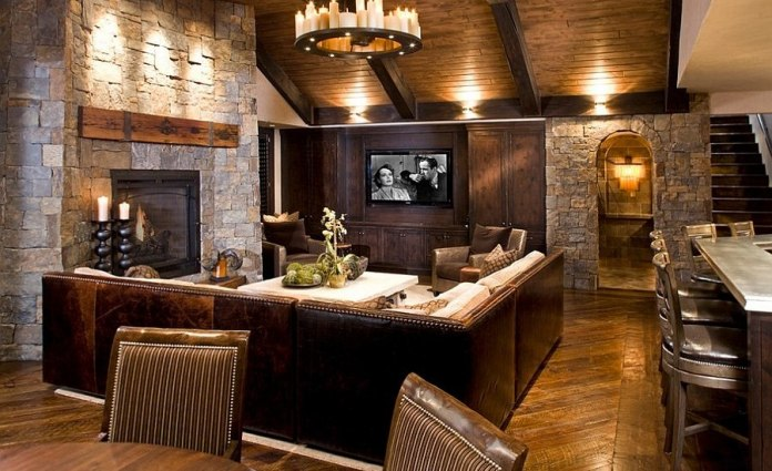 Rustic Living Room With reclaimed Timber Wood Flooring & Natural Stone Wall