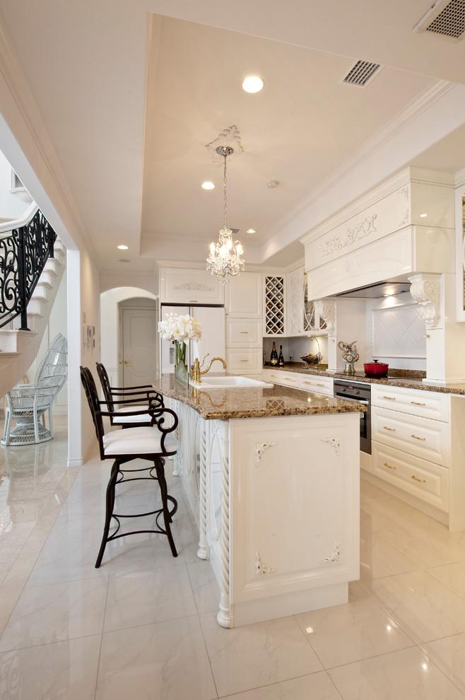 Ornate Galley Marble Floor And Beige Floor Kitchen