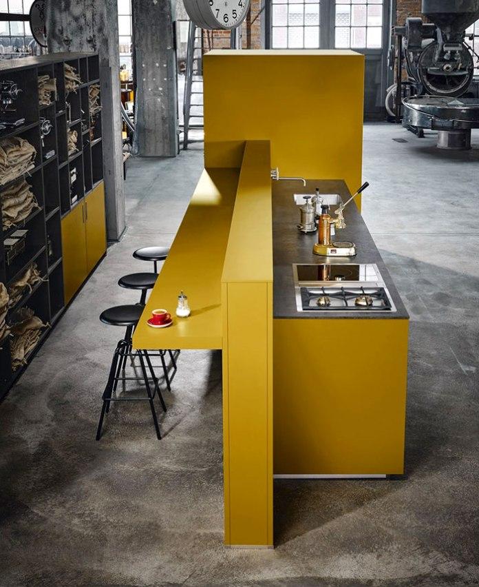 Saffron Yellow Satin Kitchen With Elegant Horizontal Bar