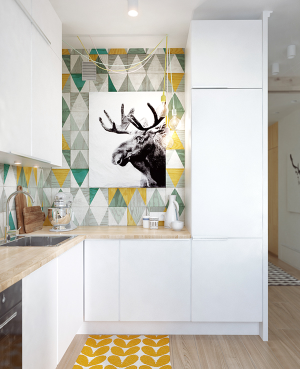 small apartment Kitchen With Wallpaper