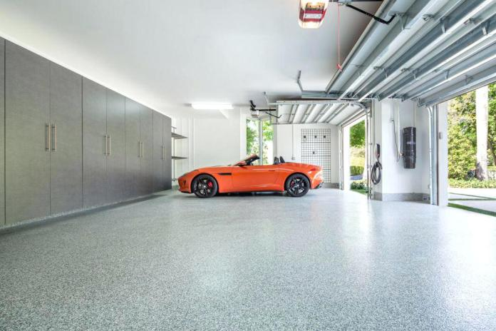 Modern Garage With Simple Granite Floors Dwellingdecor