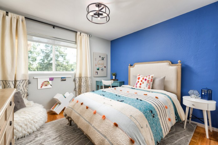 Transitional Artsy Blue Teen Room dwellingdecor