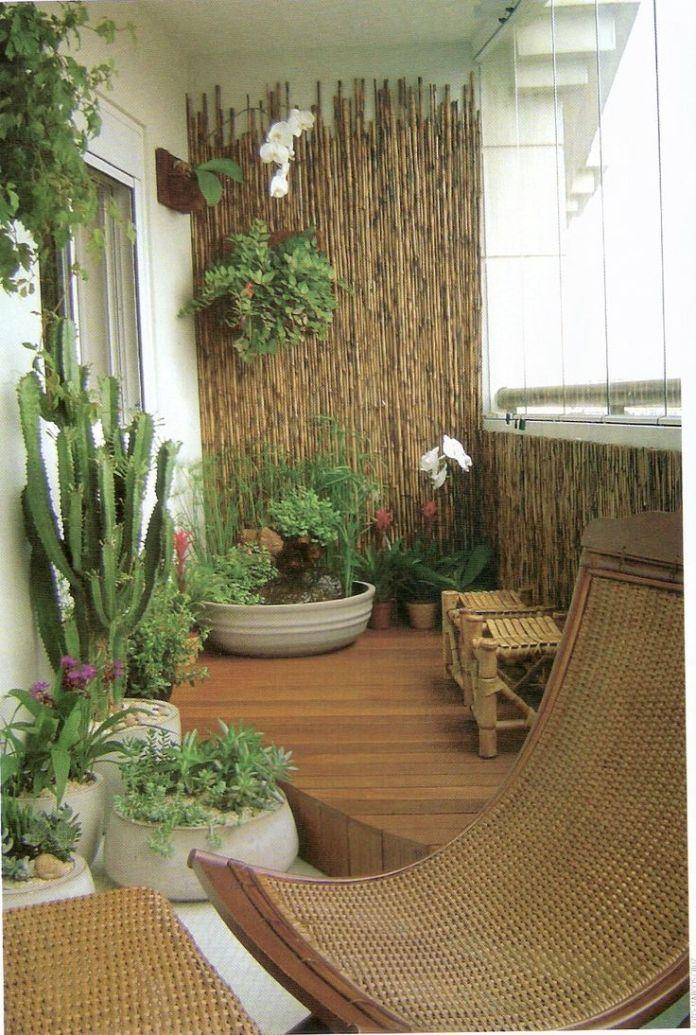 Balcony Garden Covered With Bamboo Rolls Dwellingdecor