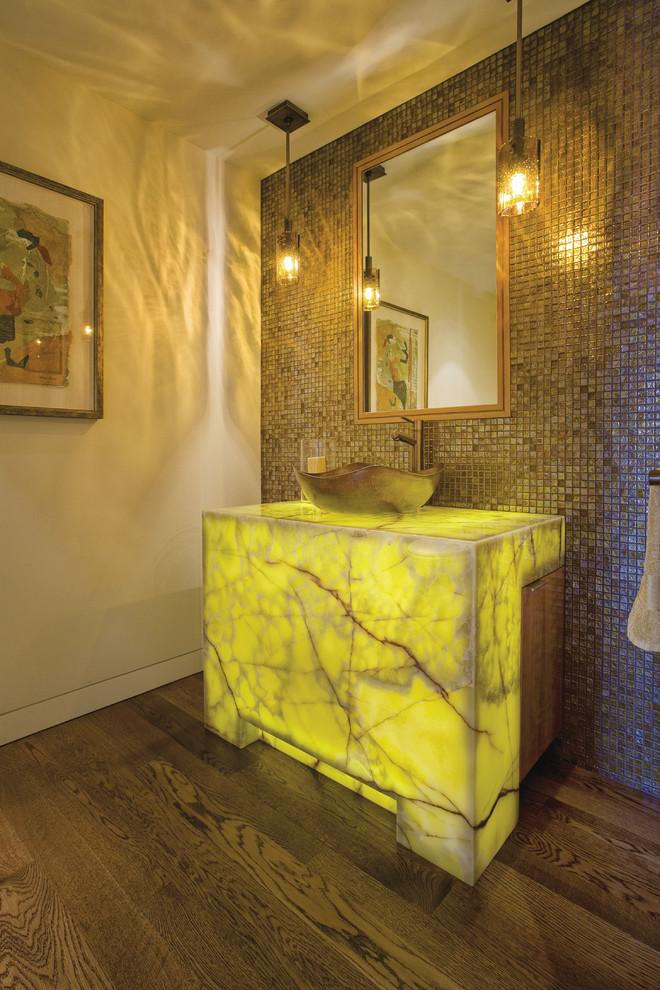 Contemporary Powder Room With inbuilt Countertop Light Dwellingdecor