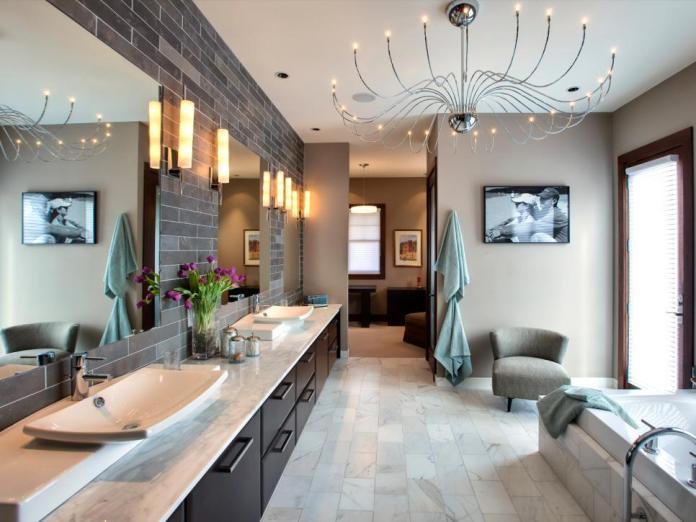 Master Bathroom With A Sleek Chrome Branches Chandelier Dwellingdecor