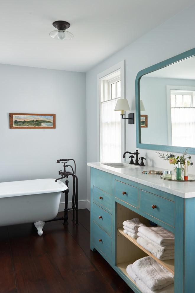 Farmhouse Style Pastel Colored Bathroom