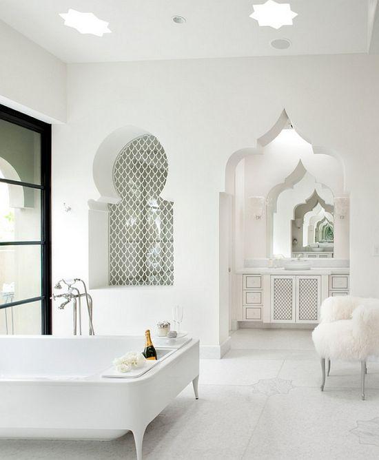 Moroccan Themed White Luxury Master Bathroom