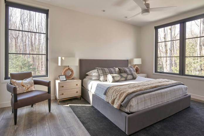 light wood floor and gray floor bedroom