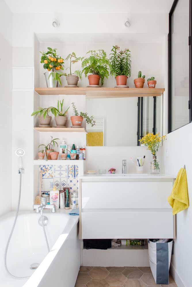 Bath and plants for a warm and cozy bathroom.