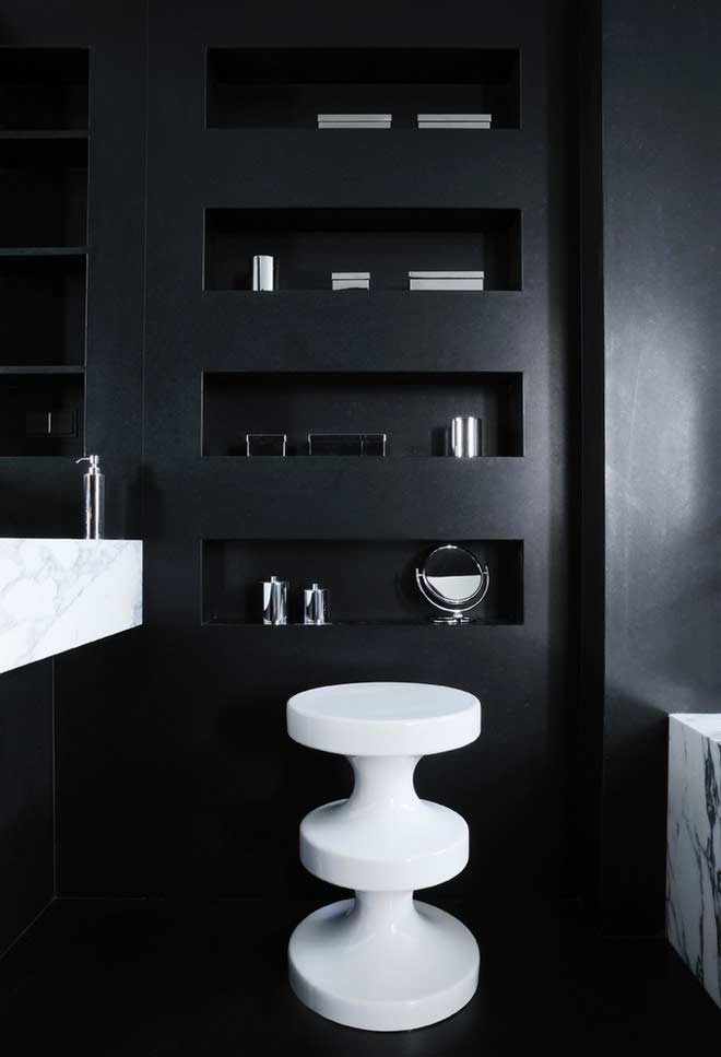 Bathroom with black coating on the walls