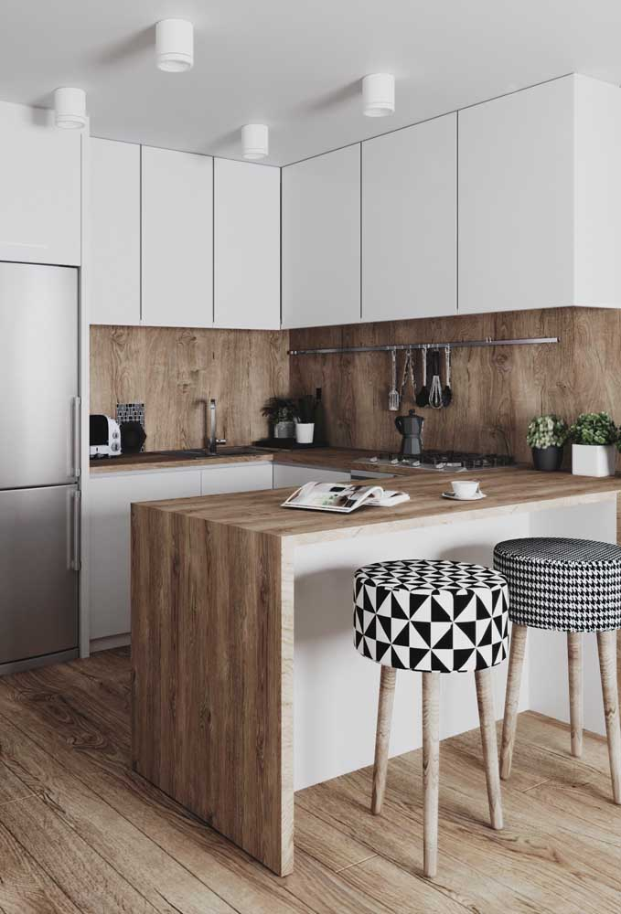 01. Small planned American kitchen with wooden counter and modern patterned stools